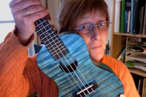 Sue Hulsether holding a blue ukelele