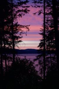 Purple sky, trees, lake, mountain